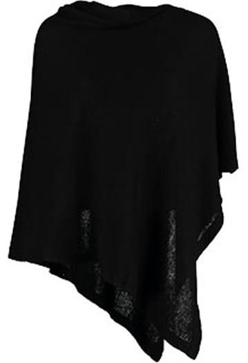 Annie 100% Cashmere Button Poncho Black