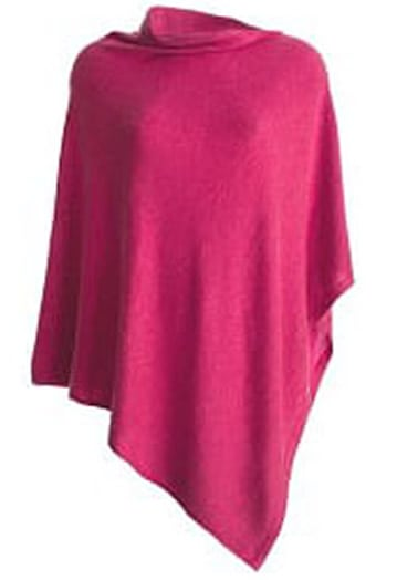 Patsy 100% Cashmere Classic Poncho Rose