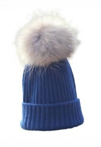 Navy Cashmere pom pom hat