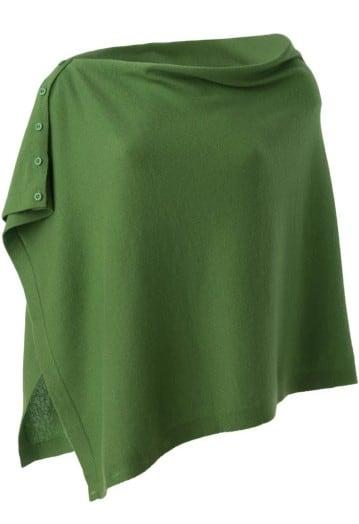 Annie Superfine 100% Cashmere Button Poncho Green
