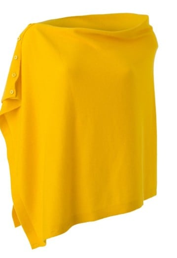 Annie Superfine 100% Cashmere Button Poncho Lemon