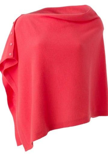 Annie Superfine 100% Cashmere Button Poncho Strawberry