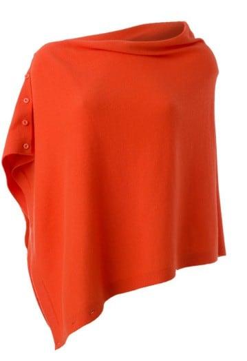 Annie Superfine 100% Cashmere Button Poncho Tangerine