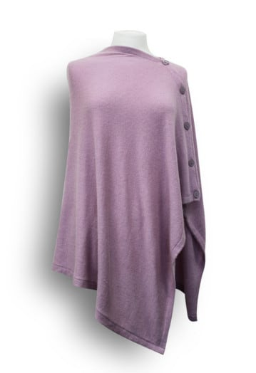 Blended Cashmere Poncho with Large button detail Dusky Pink