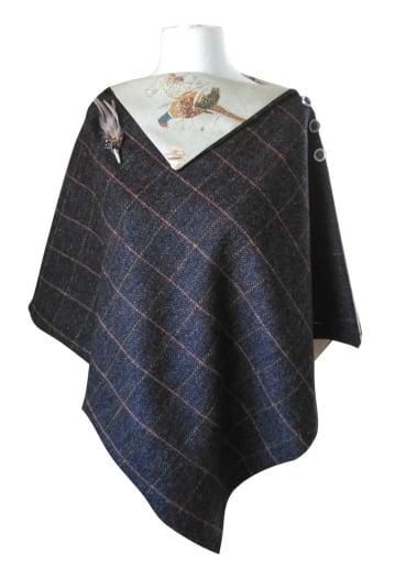 Ladies Tweed Cape Charcoal