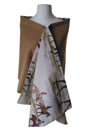 Extra Long Cashmere/Lambswool Wrap Horse Racing Print