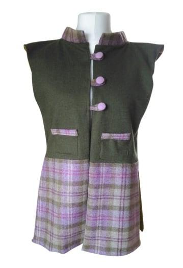 Lilac & Green Tweed & Wool Blend Gilet