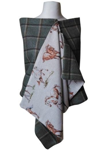 Mint Green/Brown Check Tweed Wool Wrap