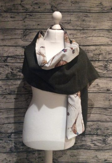 Dark Olive Tweed Wrap with Pheasant Lining – Extra Long