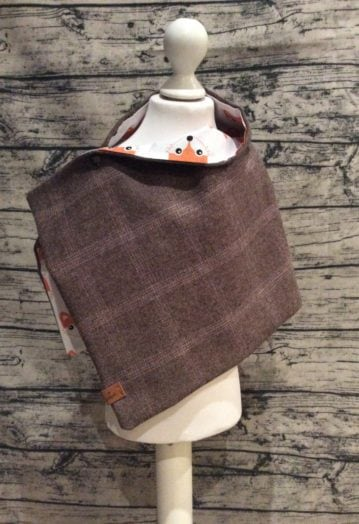 Coffee Tweed Cape with cute Fox lining (Toddler)