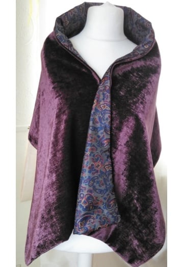 Aubergine Rich Velvet Wrap with Paisley Lining