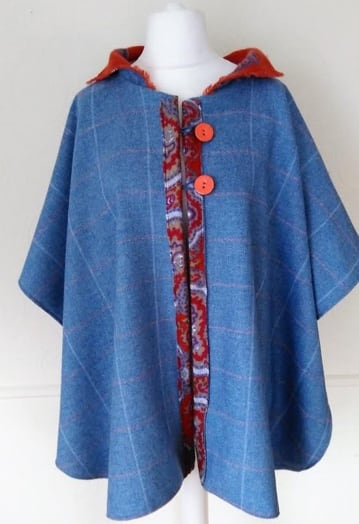 Sea Blue Soft Tweed Cape with Bright Orange Cashmere Lining