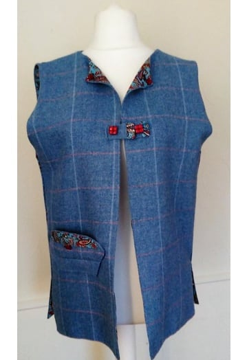 Powder Blue Tweed Gilet with Paisley Lining