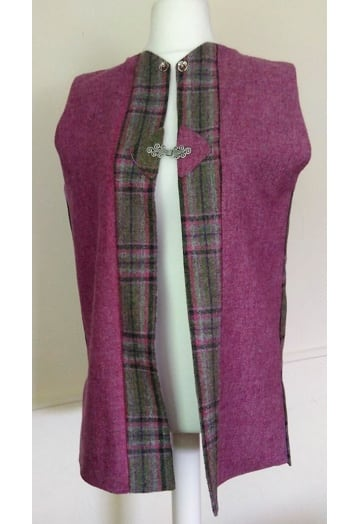 Raspberry Tweed Gilet with Thistle Print Lining