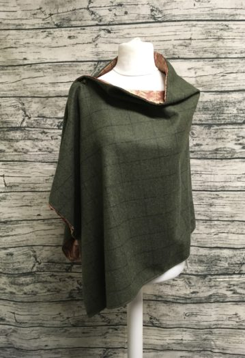 Hunter Green Tweed Cape with gold Paisley Lining