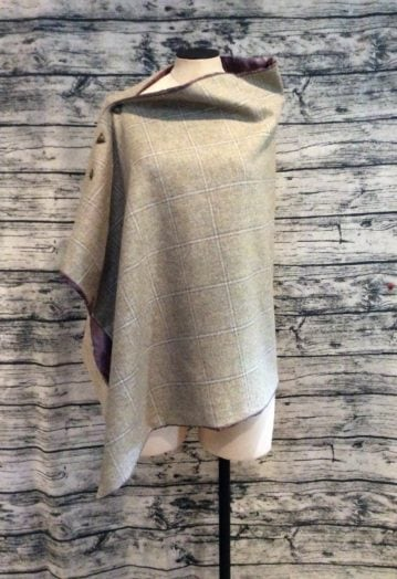 Barn Owl Tweed Cape with Bronze Paisley lining
