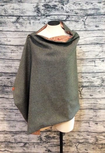 Moss Green tweed Cape with Tan velvet Horse lining