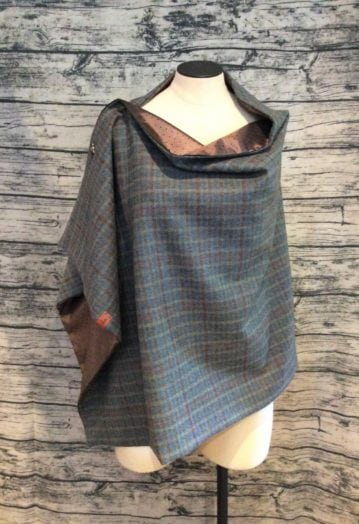 Petite Check Tweed Cape with Silky Chocolate lining