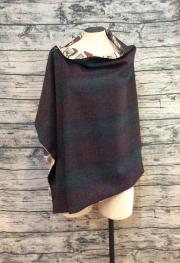 Deep Wine, Navy and Green Tweed Cape with Pure Silk Equestrian lining