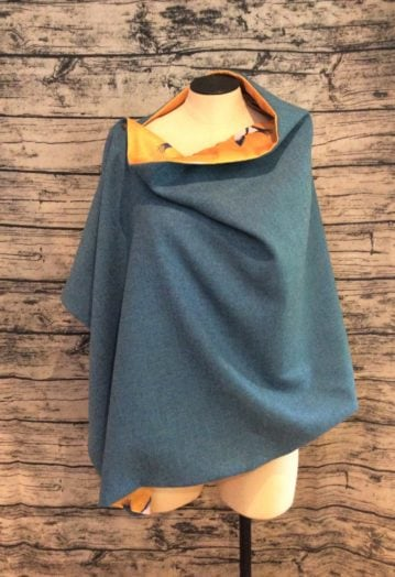 Colourful Tweed Cape with Velvet lining