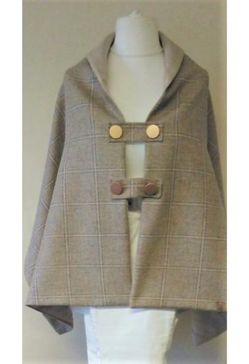 Lightweight Oatmeal Tweed Shoulder Cape