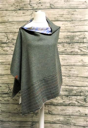Forest Green Miriad Two-tone Tweed Cape with Paisley lining
