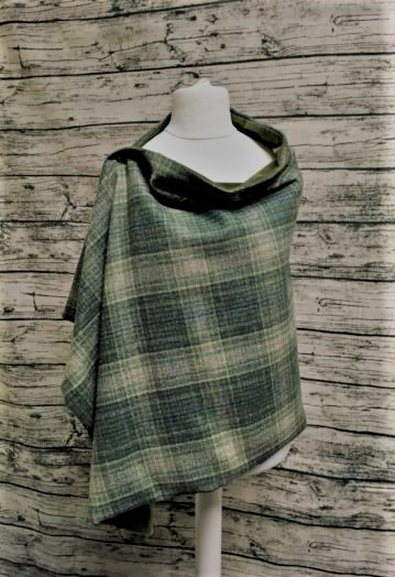 Forest Green Check Tweed Cape with Luxury Velvet lining