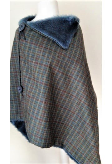 Teal Check Tweed Cape with Faux fur Lining