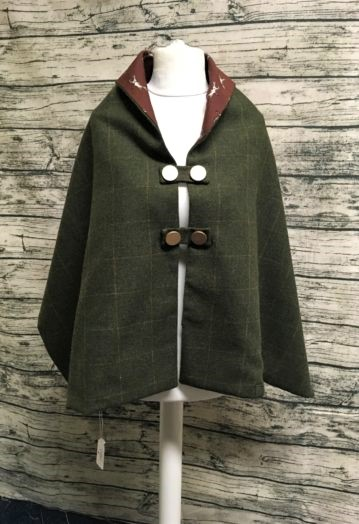 Dark Hunter Green Tweed multi-wear shoulder Cape