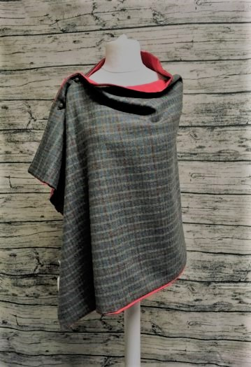 Multi check Tweed Cape fully lined