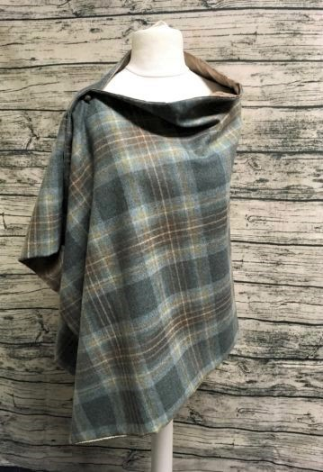 Teal Green & Blue check Tweed Cape with Iced Latte Paisley lining
