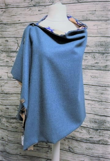 Turquoise Tweed Cape with Fox lining