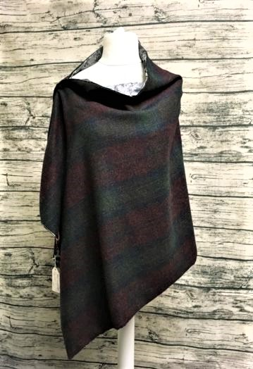 Deep Wine, Navy & Green Tweed Cape with iced Charcoal paisley lining