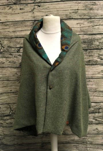 Fresh Green Miriad Tweed Two-way Cape with Peacock Feather lining