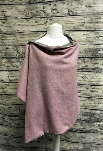 Sea Pink Tweed Cape with Minty Velvet Bird lining