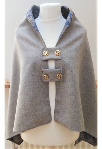 Ice Blue Tweed Cape with Sky Blue & Gold Paisley Lining