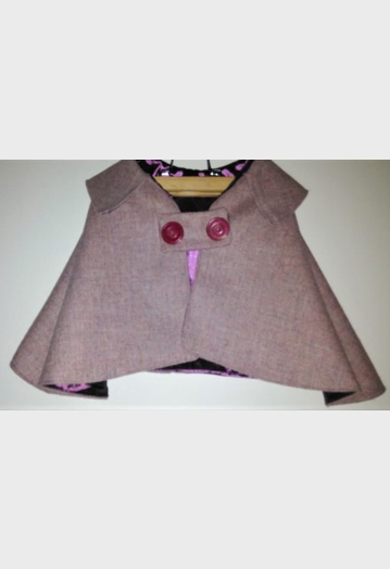Shell Pink Tweed Cape with Aubergine Lining (Baby/Toddler)
