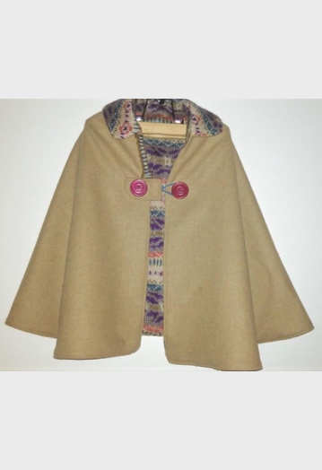 Biscuit Tweed Cape with Fair Isle Knit Lining