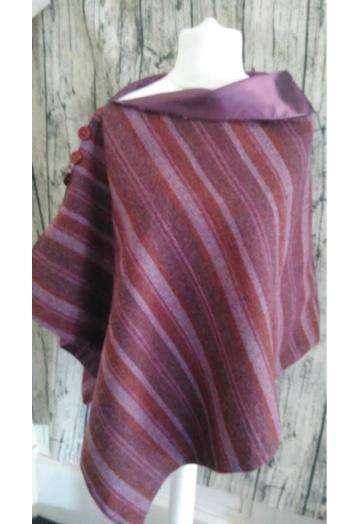 Plum & Pink Striped Cape with Aubergine Taffeta Lining