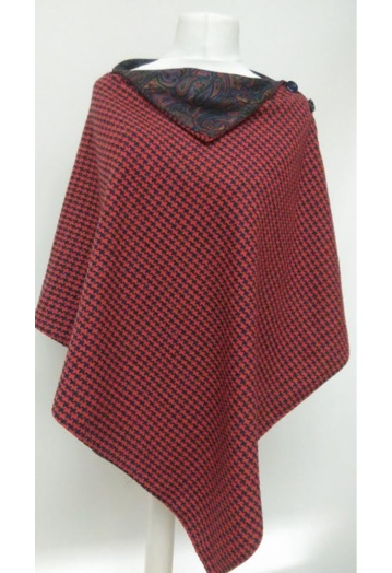 Red & Navy Checked Cape with Paisley Lining
