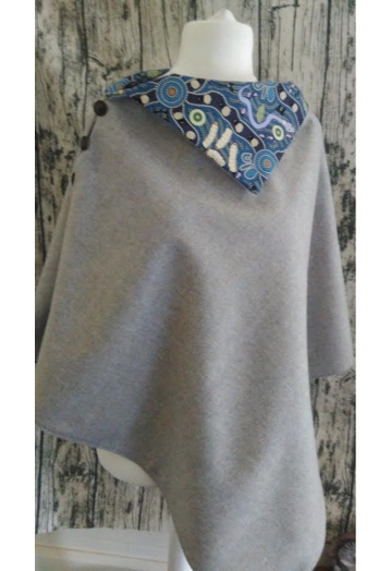 Pale Ice Blue Tweed Cape with Aztec Print Lining