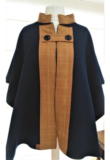 Warm Navy Cape Coat with Horse Print Lining
