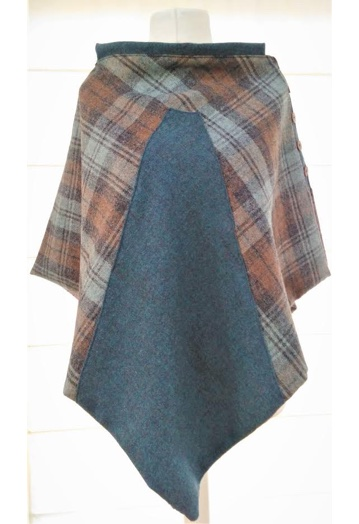 Two-tone Aqua Blue & Biscuit Tweed Cape with Bronze Lining