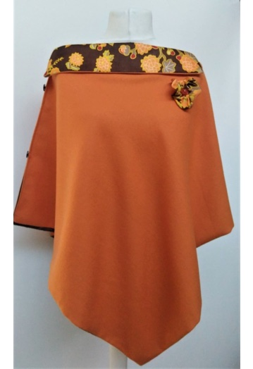Tangerine Fine Wool Cape with Paisley Print Lining