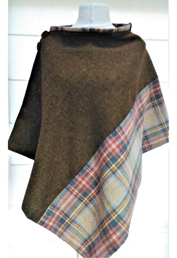Two-tone Olive Fine Tweed Cape with Paisley Lining