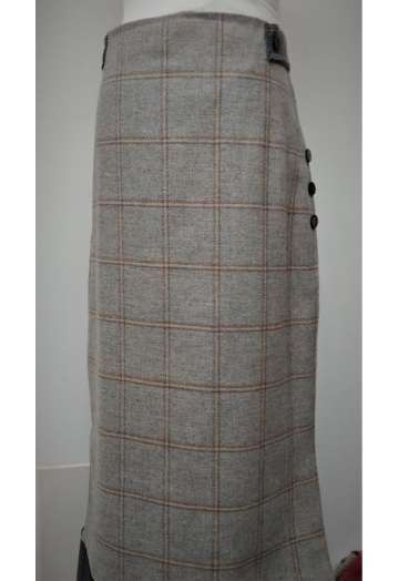 Long Maxi Dove-Blue & Brown Check Fine Tweed Skirt Size 12–14