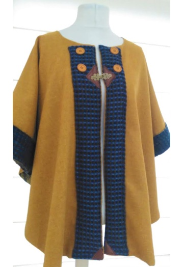 Honey Gold Tweed Cape Coat with Paisley Lining