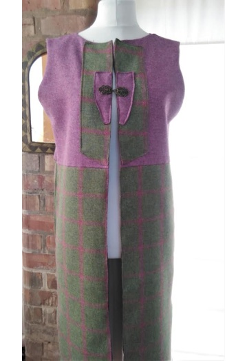 Long Maxi Two-tone Raspberry & Forest Green Tweed Gilet
