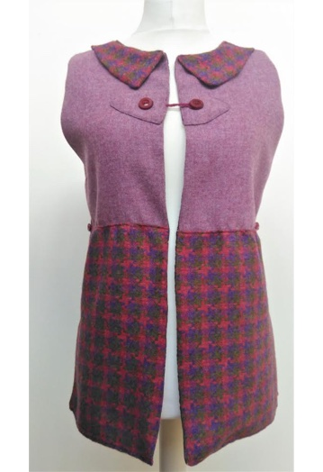 Vibrant Raspberry/Purple Two Tone Gilet with Aubergine Lining