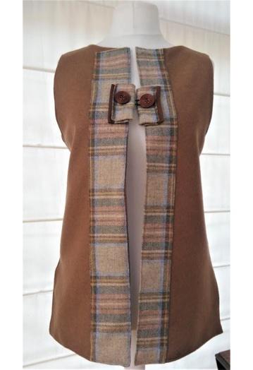 Warm Cinnamon Midi Tweed Gilet with Gold Paisley Lining